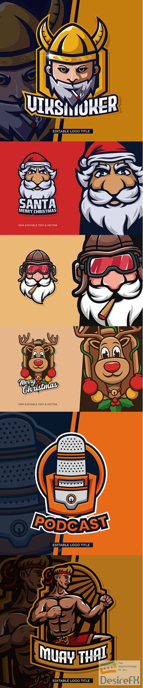 Vector Mascot Logo Template Set