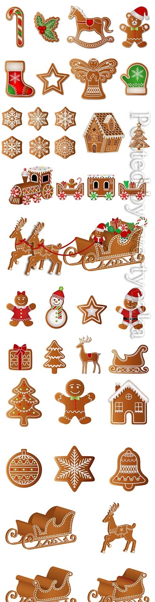 Vector set christmas gingerbreads
