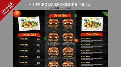 Vintage style queen burger a4 trifold brochure menu