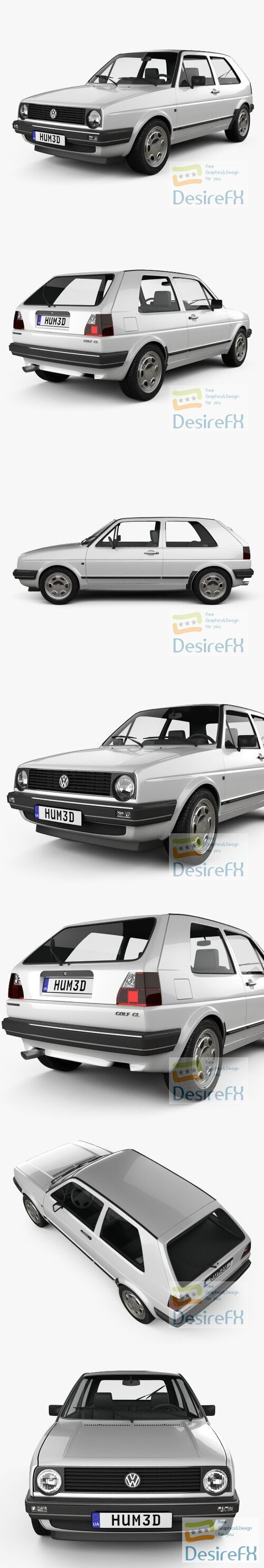 Volkswagen Golf 3-door 1983 3D Model