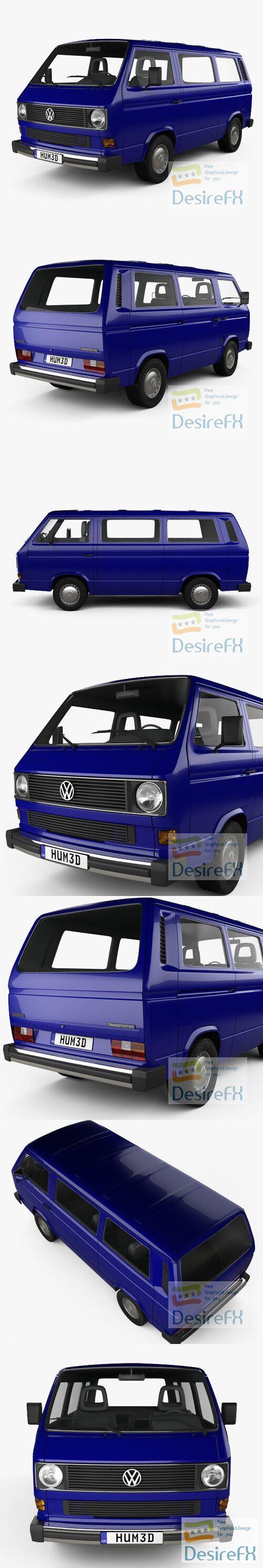 Volkswagen Transporter Passenger Van 1990 3D Model