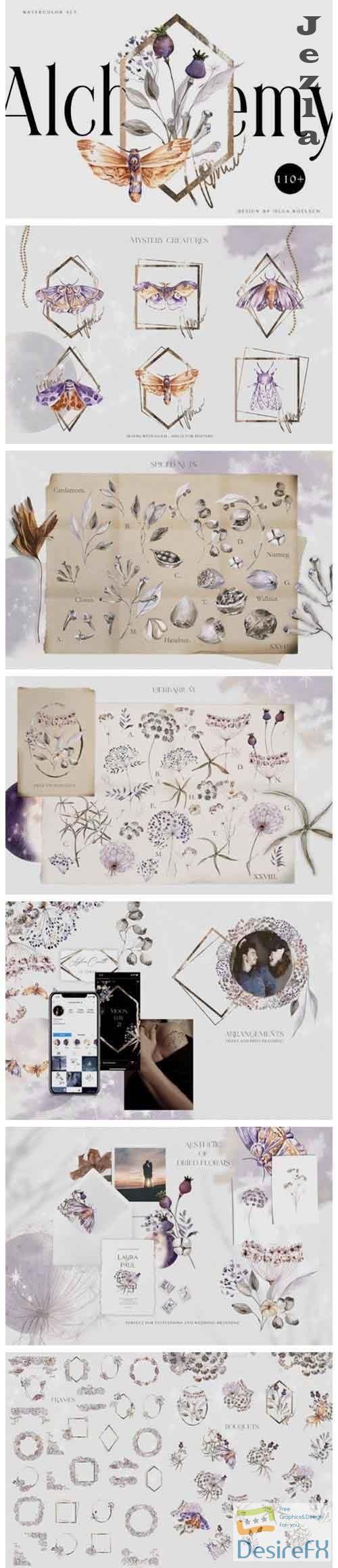 Watercolor dried flower bouquet clipart Boho floral elements - 985145
