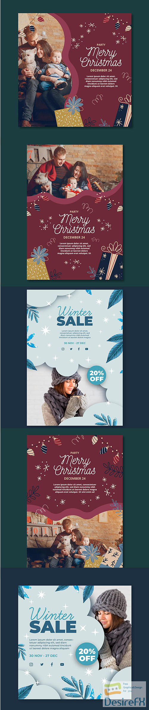 Winter Christmas Flyer Template Set