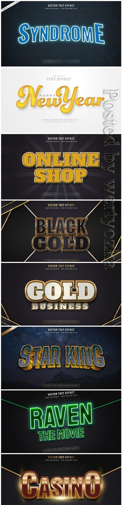 3d editable text style effect vector vol 11