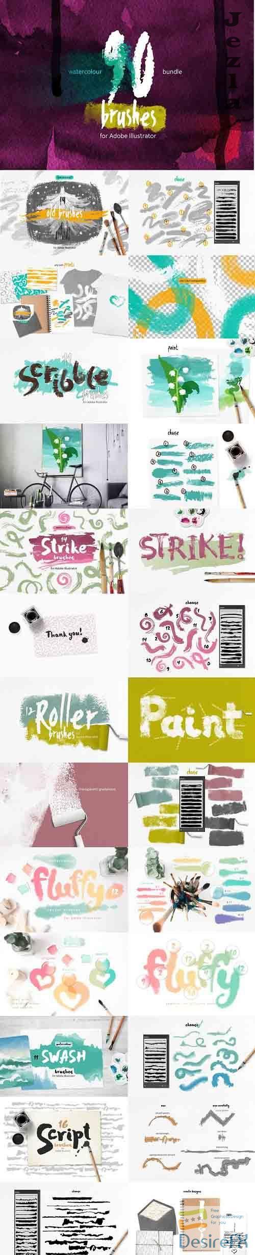 90 Watercolor Brushes BUNDLE - 3659430