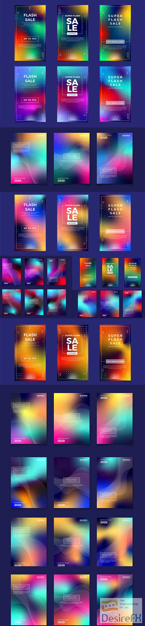 Abstract colorful gradient cover set