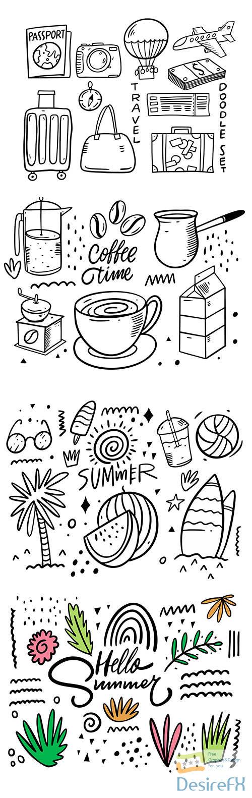 Abstract doodles elements set