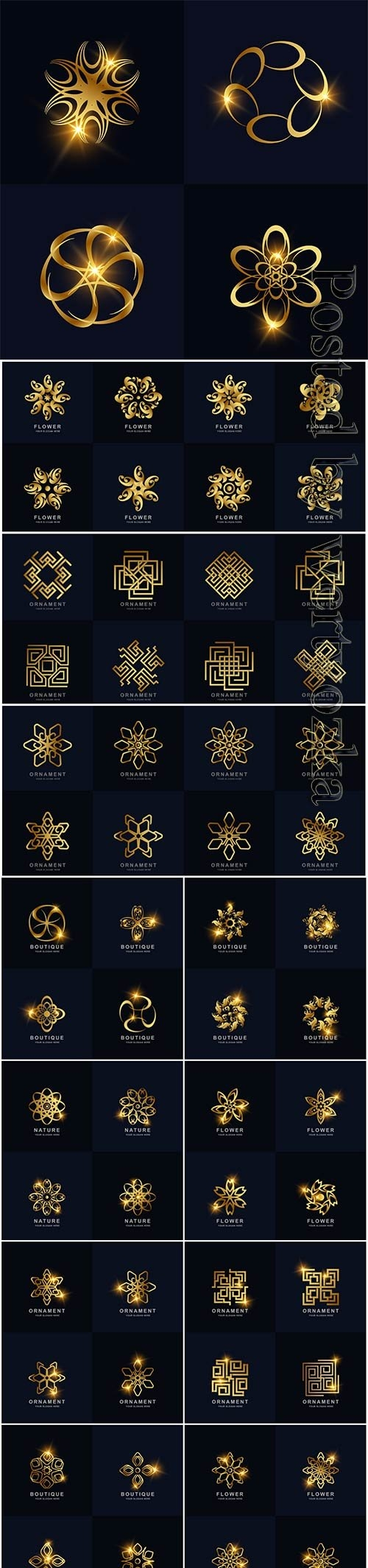 Abstract golden flower ornament logo set collection