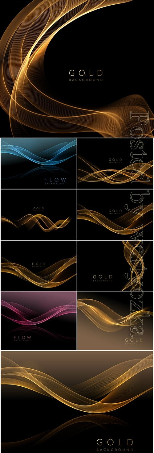 Abstract shiny golden wavy element on dark vector background