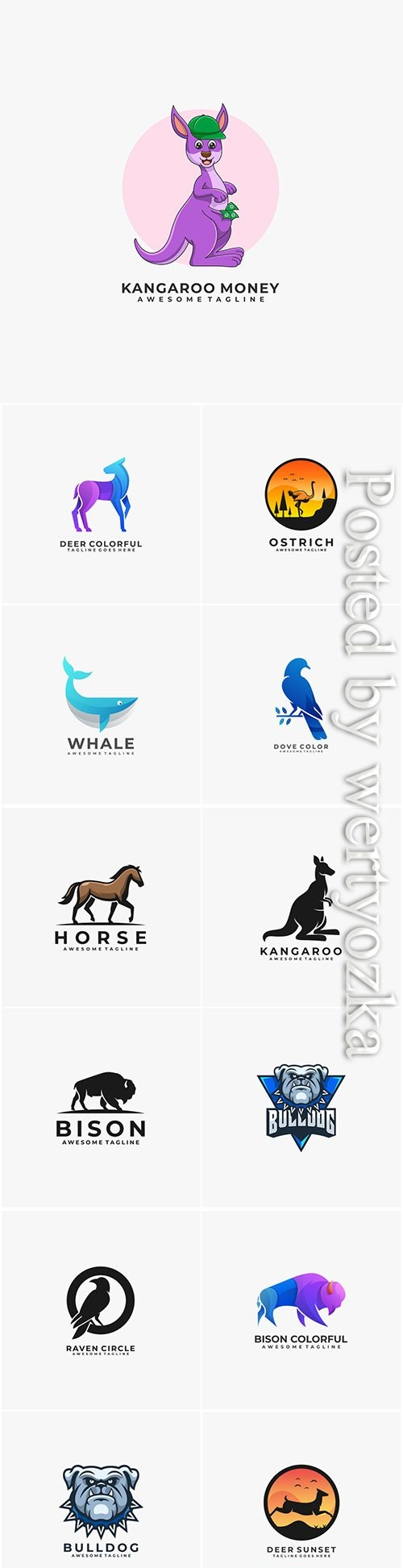 Animals and birds logos in vector vol 2