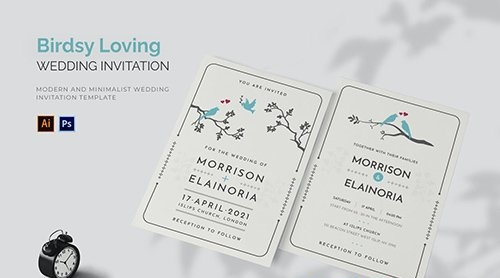 Birdsy Loving - Wedding Invitation