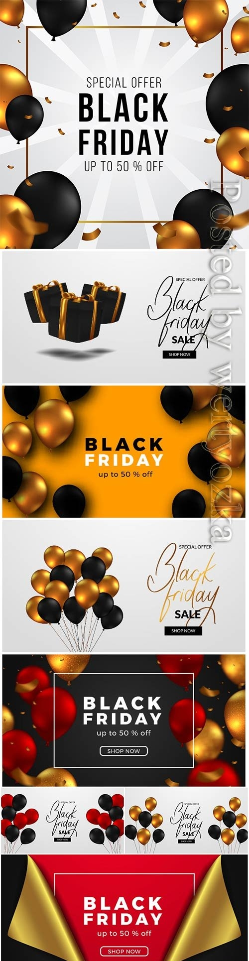 Black friday sale, red and golden balloon premium vector
