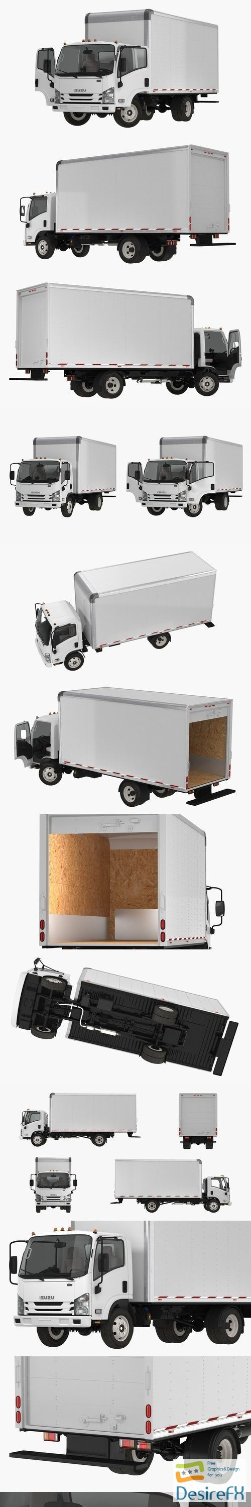 Box Truck Isuzu NPR 2018 Rigged 3D Model