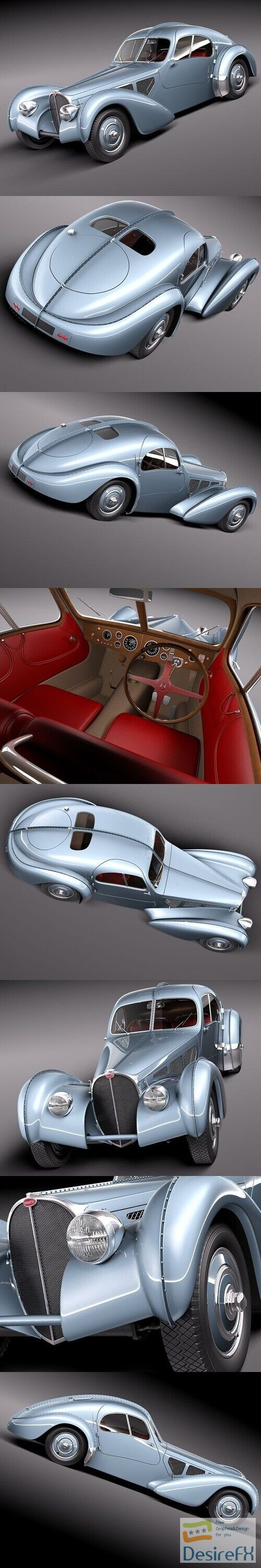 Bugatti Type 57 Atlantic 1936 3D Model
