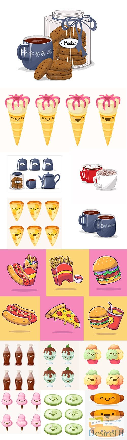 Cartoon food and drink illustration set