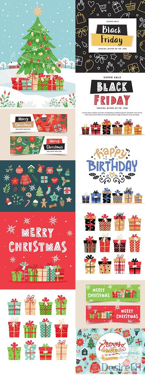Christmas and Black Friday Banner Template with lettering and gifts