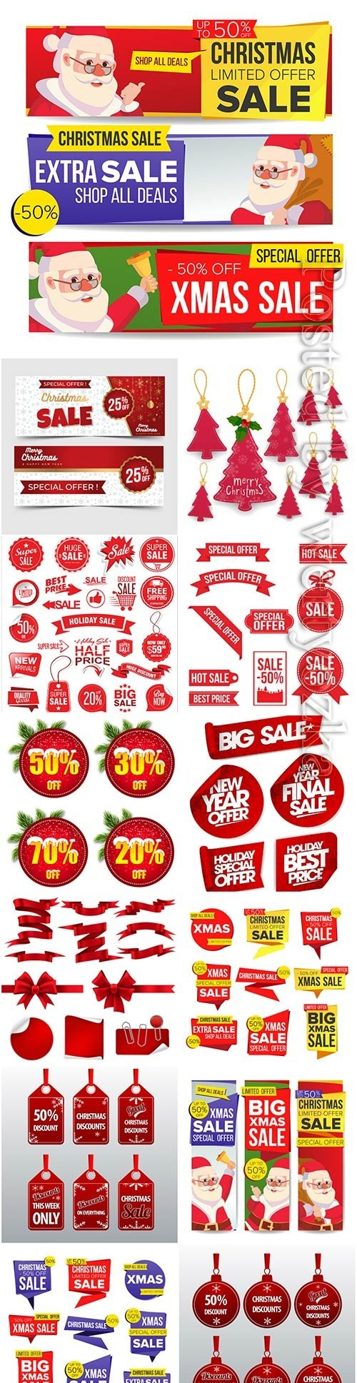 Christmas and new year stickers set, tags with labels vol 2