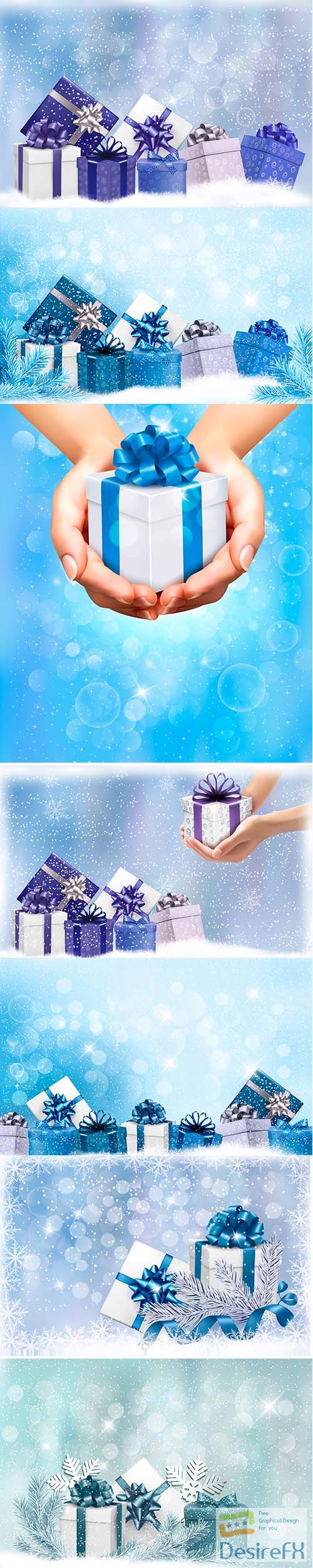 Christmas blue background with gift boxes snowflake