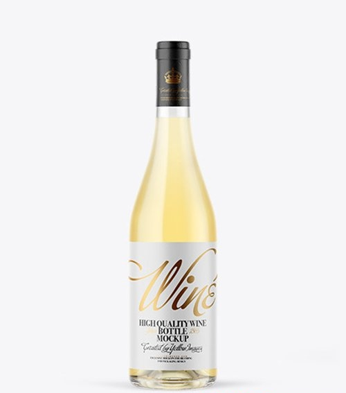 Clear Glass White Wine Bottle Mockup 66414