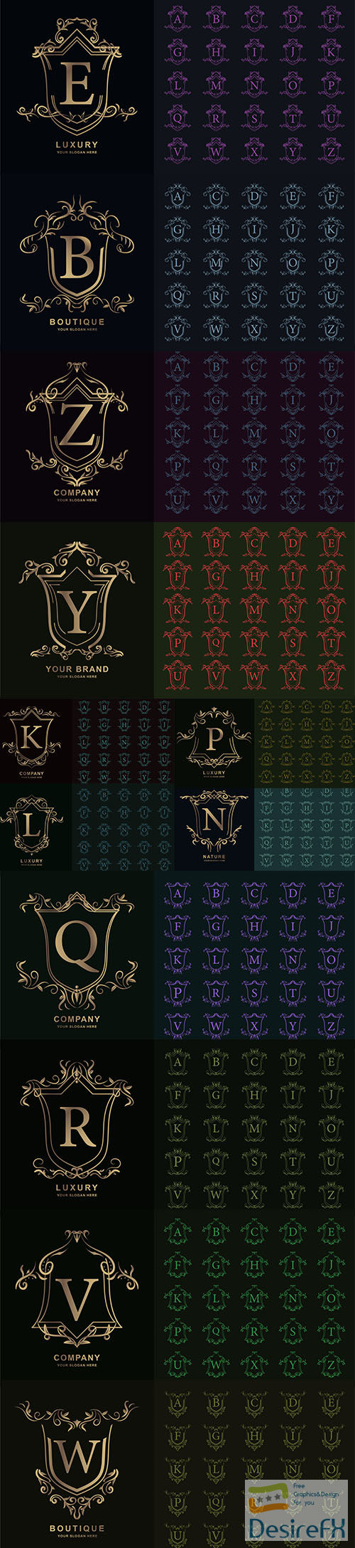 Collection initial alphabet with luxury ornament frame logo template
