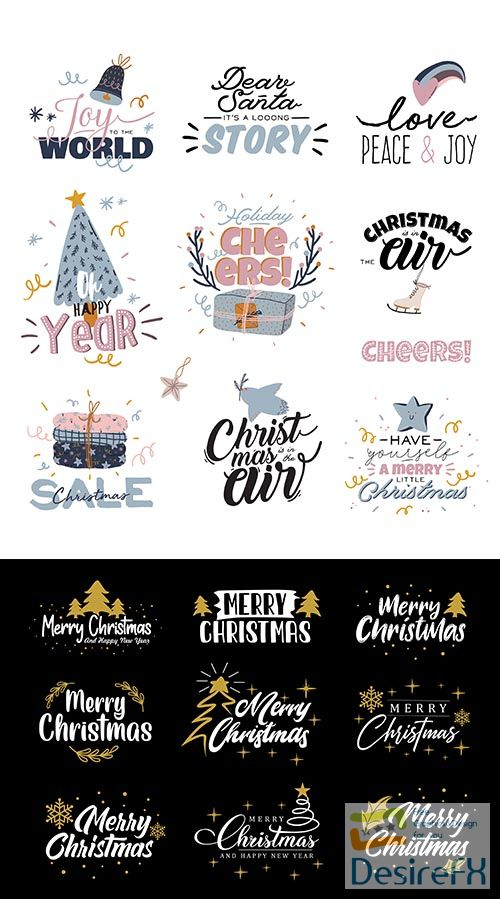 Collection of christmas greetings lettering