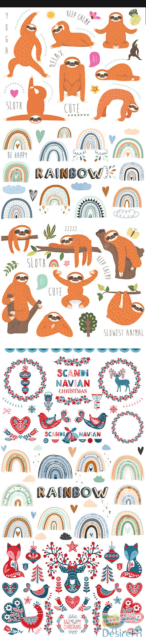 Collection of cute sloth illustration