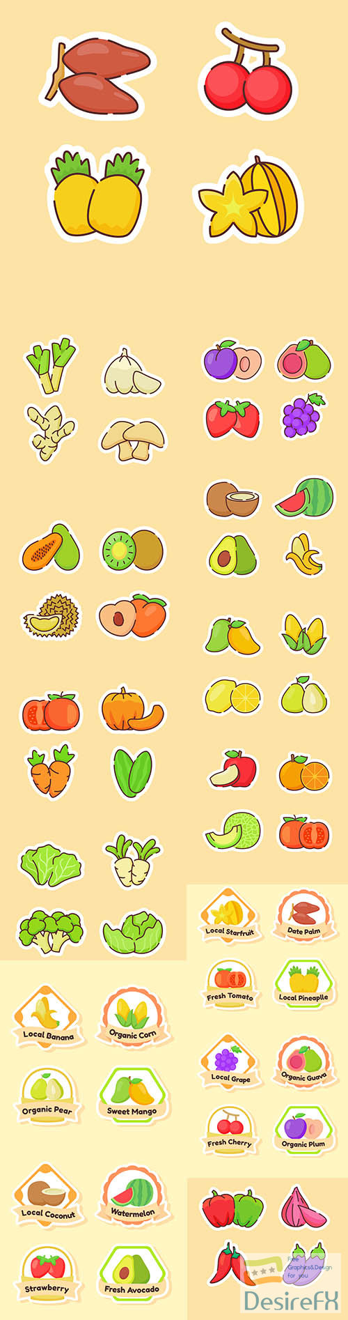 Collection of fruits isolated on beige