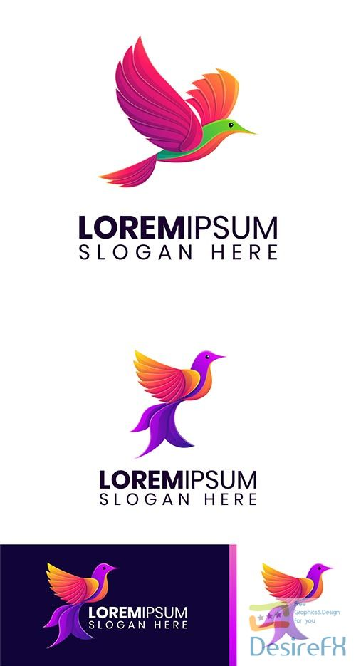 Colorful flying bird logo template