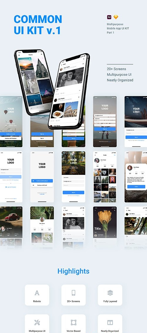 COMMON UI KIT v.1 - Multipurpose UI KIT Part 1