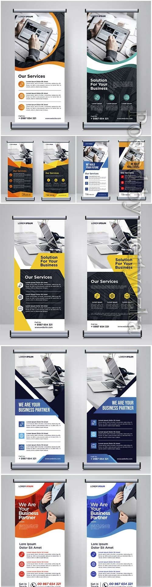 Corporate roll up or banner design template vector