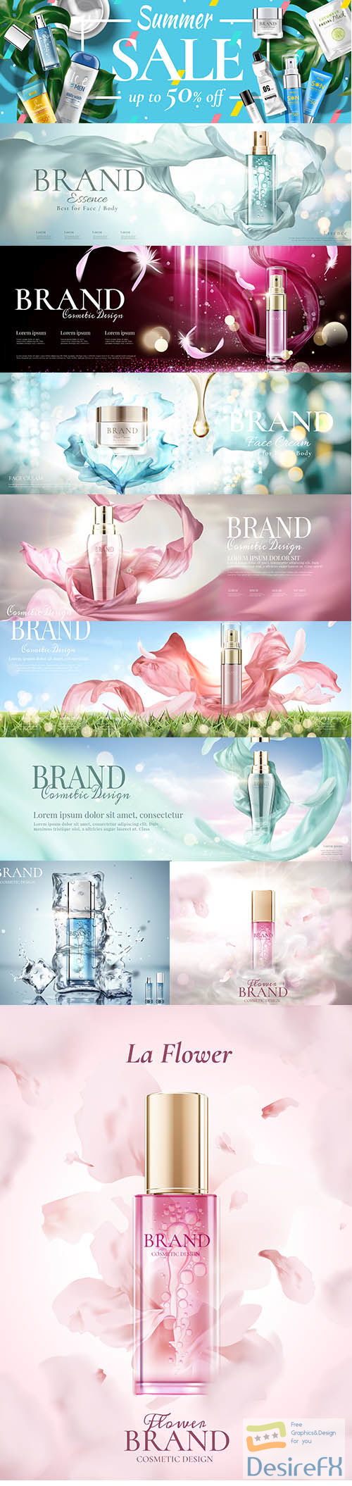 Cosmetic banner ads with bottle vol 2