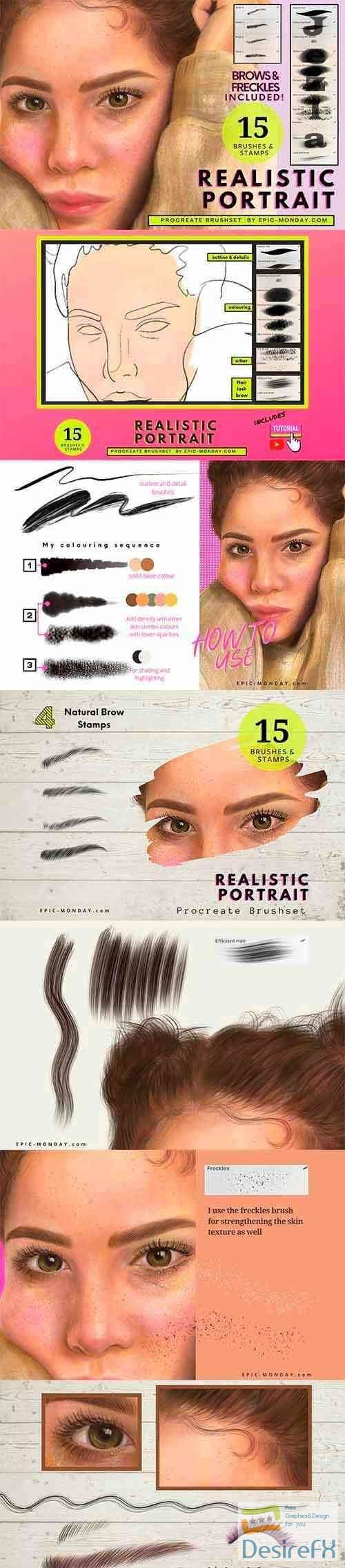 CreativeMarket - Procreate Realistic Portrait Brushes 5490552