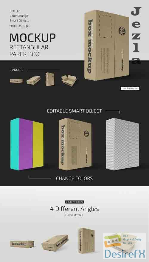 CreativeMarket - Rectangular Paper Box Mockup Set 5636839