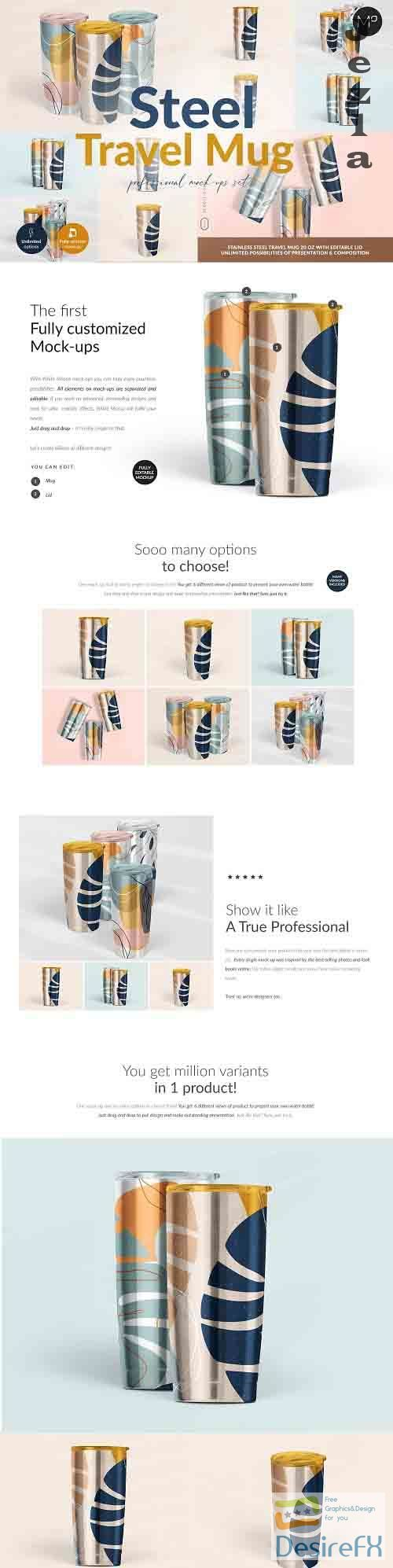 CreativeMarket - Travel Mug Professional Mock-ups Set 5502633