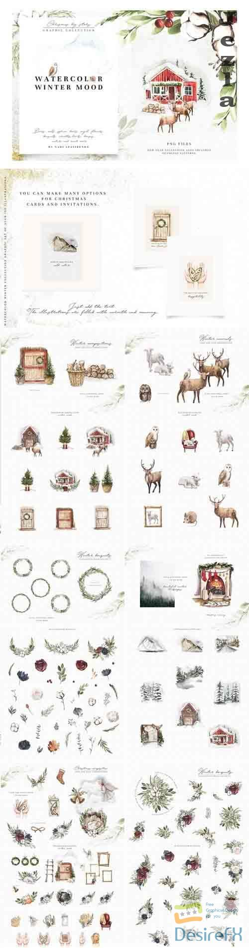 CreativeMarket - Watercolor Winter Mood 4283241