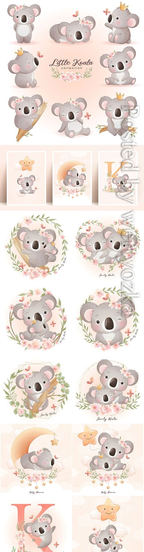 Cute doodle koala bear with floral illustration premium vector