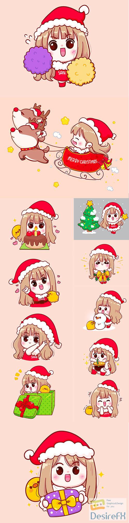 Cute girl in santa claus costume