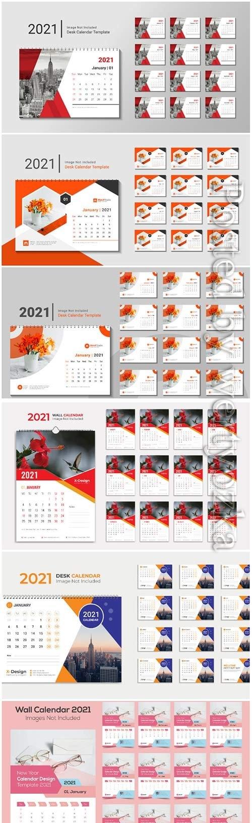 Desk calendar 2021 template design for new year vol 2