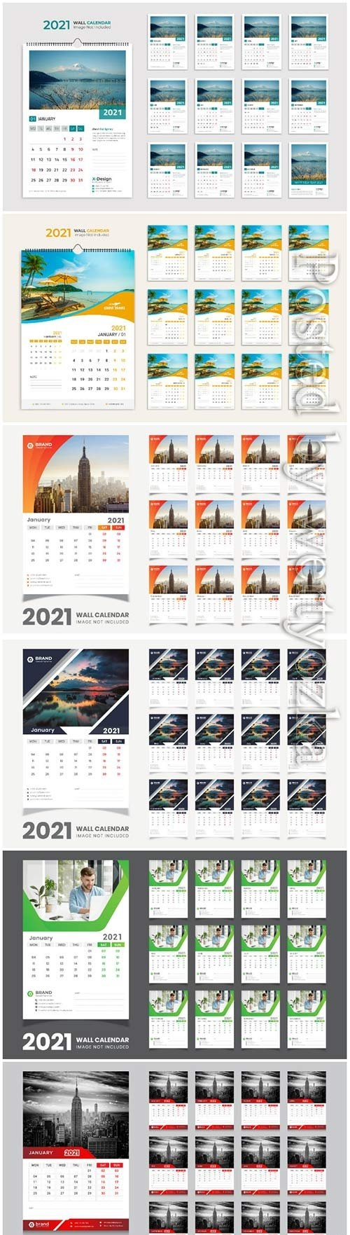 Desk calendar 2021 template design for new year vol 3