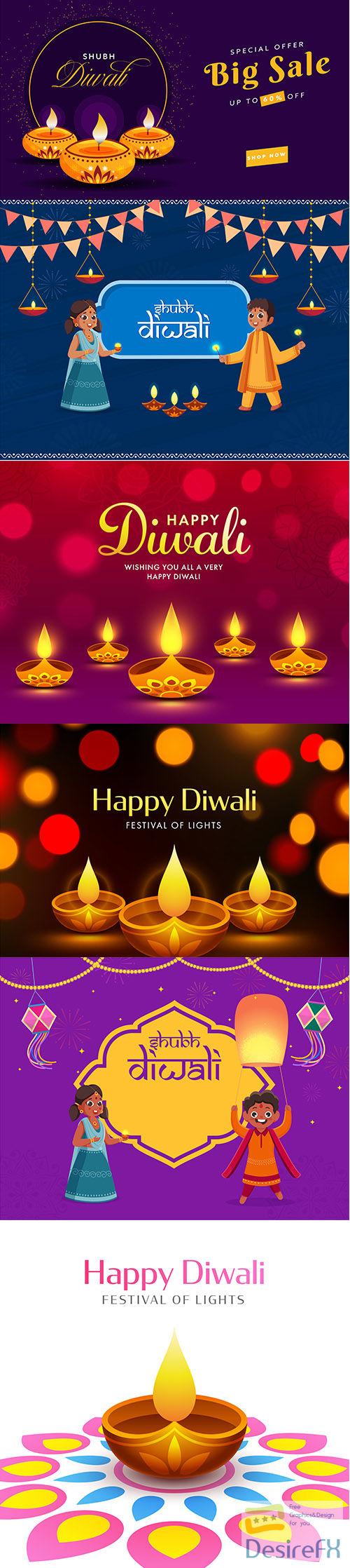 Diwali big sale banner design discount offer