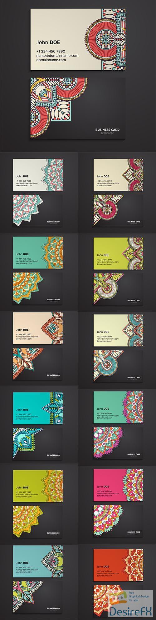 Ethnic oriental mandala business card template