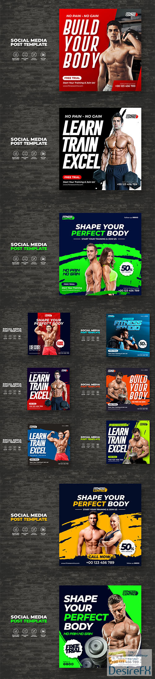 Fitness or gym studio social media banner or square sport flyer