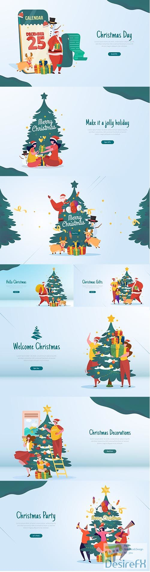 Flat illustration with christmas party celebration concept