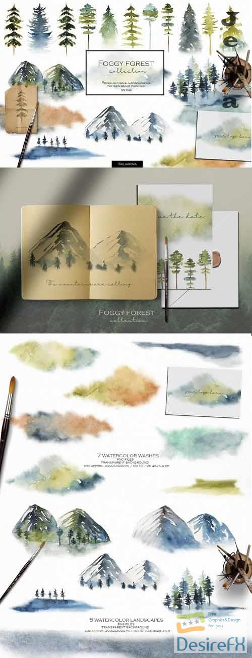 Foggy forest collection. Watercolor tress & landscapes - 1052128