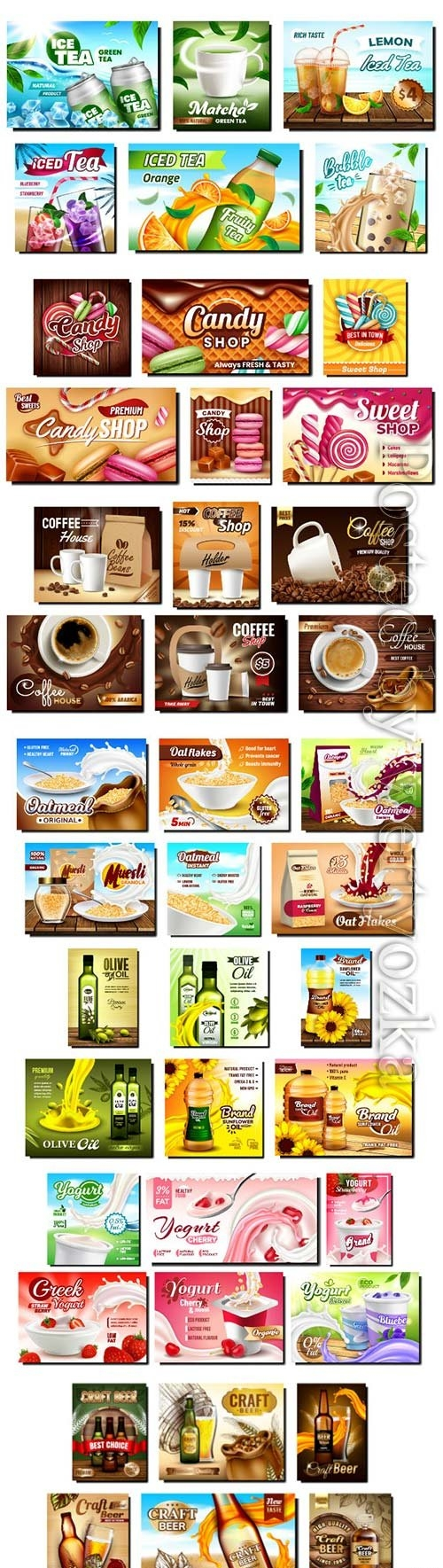 Food creative promotional banners vector set