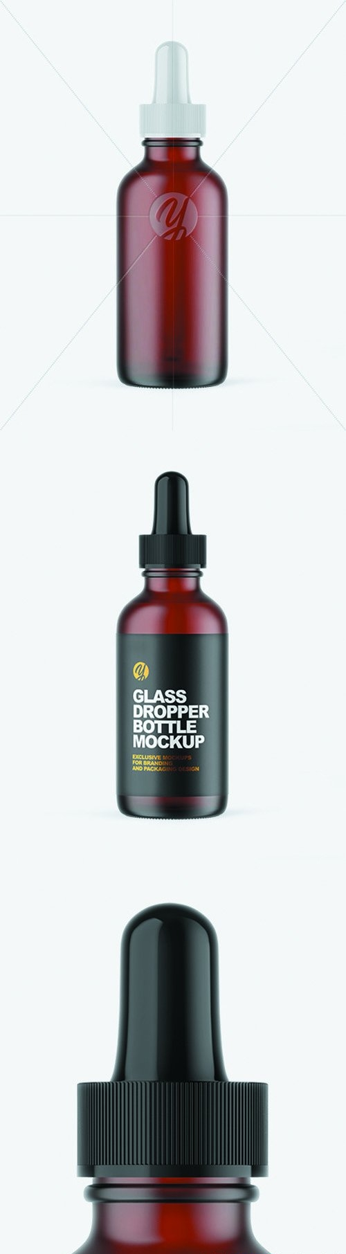 Frosted Dark Amber Glass Dropper Bottle Mockup 66082