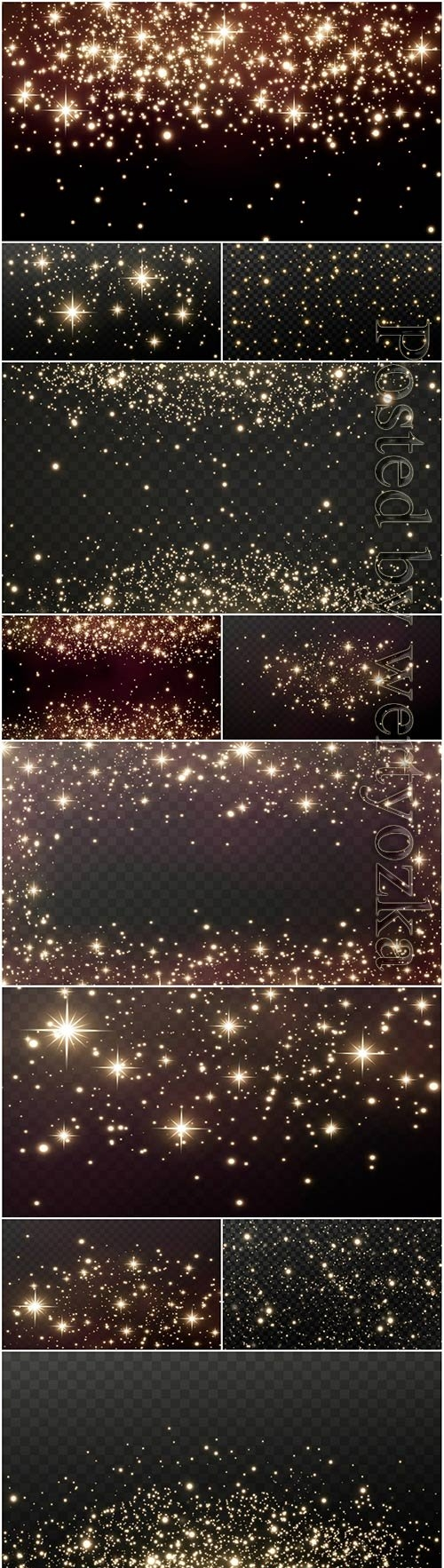 Gold sparks and gold stars sparkle with a real light effect