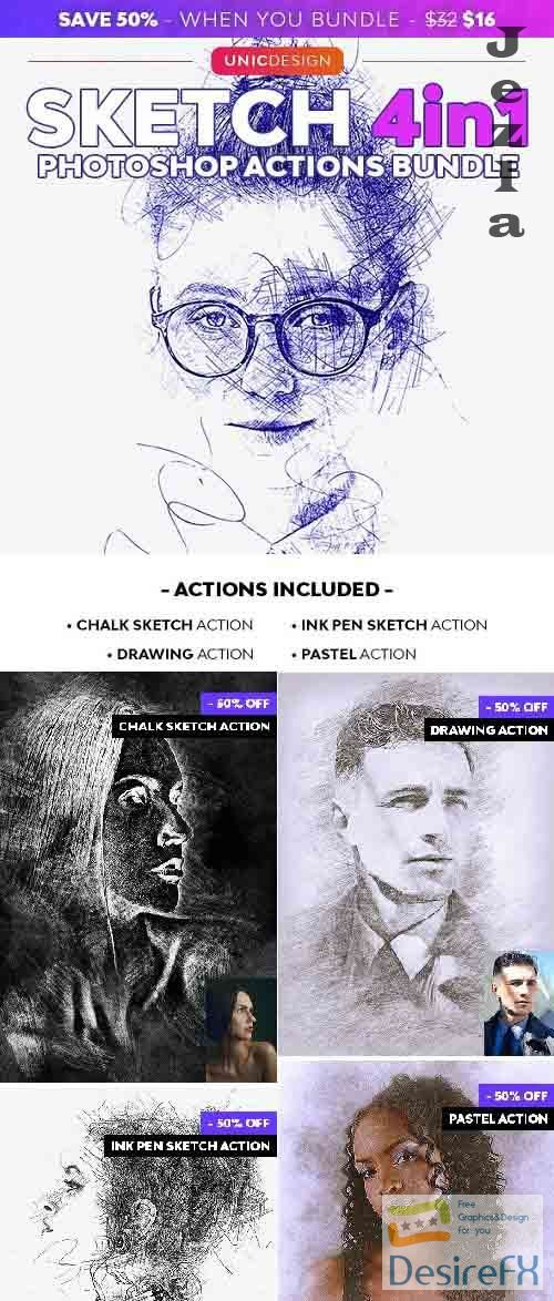 GraphicRiver - Sketch 4in1 Photoshop Actions Bundle 29408321