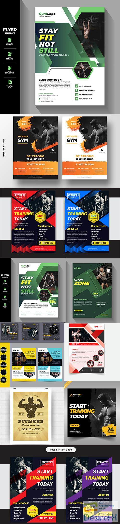 Gym and fitness flyer template collection Vol 2