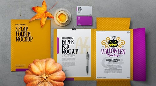 Halloween Autumn Stationery Flap Folder Mockup